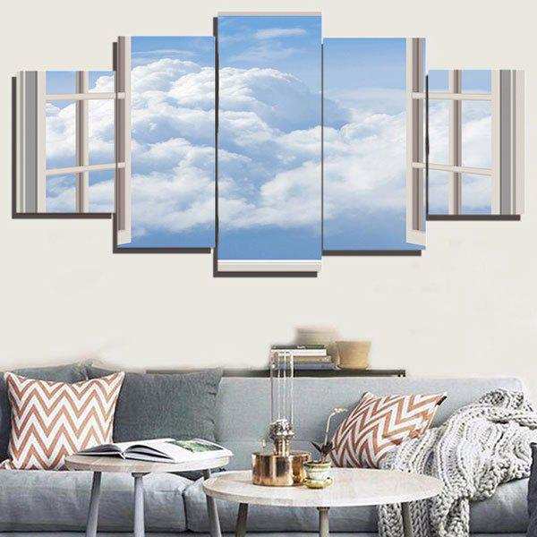 Window Cloud Print Unframed Painting - GRAY 1PC:12*31,2PCS:12*16,2PCS:12*24 INCH( NO FRAME )