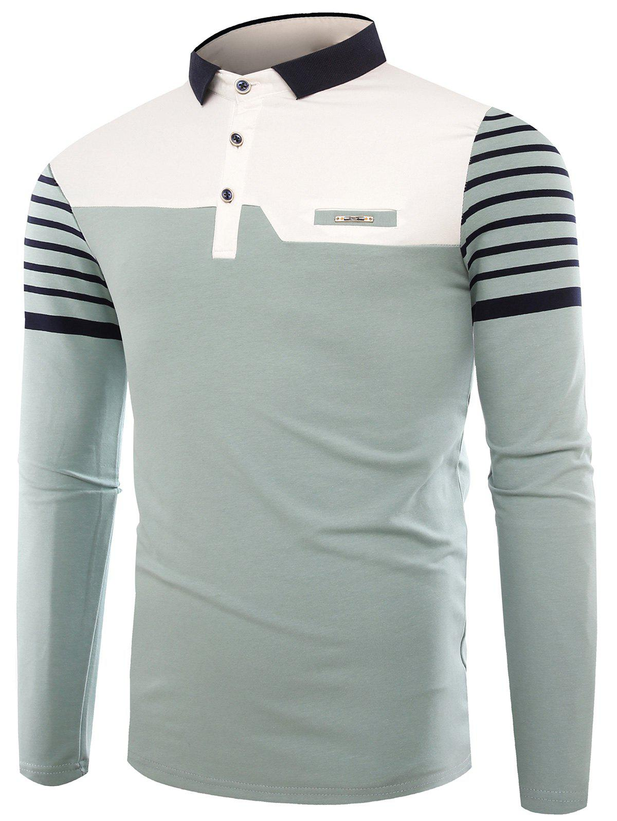 Color Block Stripe Buttons Polo T-shirt - LIGHT BLUE L