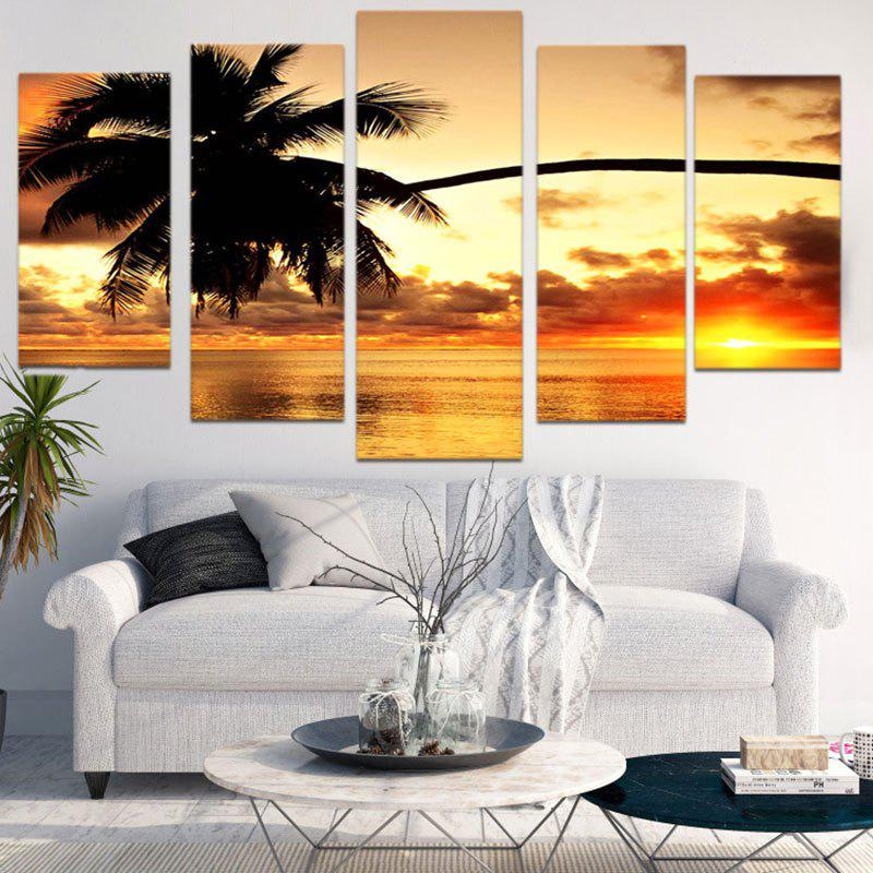Coconut Tree Sunset Print Unframed Canvas Paintings - COLORFUL 1PC:8*20,2PCS:8*12,2PCS:8*16 INCH( NO FRAME )