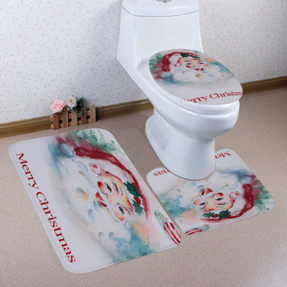 Merry Christmas Santa Pattern 3 Pcs Bathroom Toilet Mat - COLORMIX