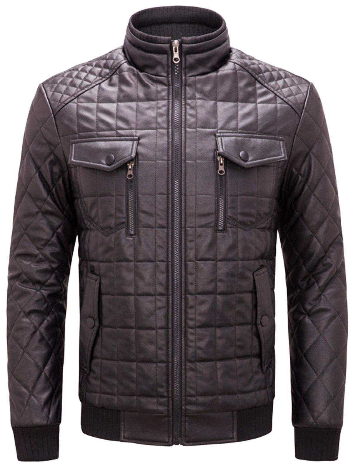 Chest Flap Pockets Quilted Faux Leather Jacket - COFFEE 3XL