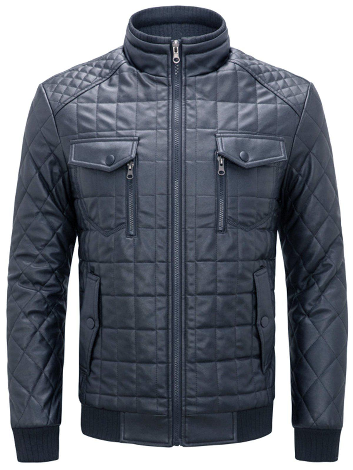 Chest Flap Pockets Quilted Faux Leather Jacket - DEEP BLUE XL