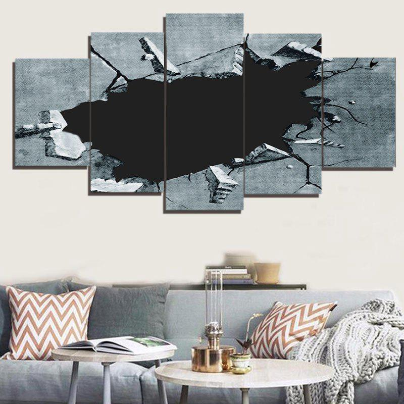 Broken Hole Print Unframed Decorative Canvas Paintings - GRAY 1PC:8*20,2PCS:8*12,2PCS:8*16 INCH( NO FRAME )