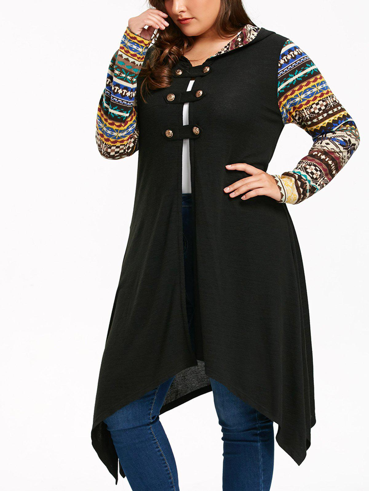 Long Sleeve Plus Size Hooded Handkerchief Dress - BLACK 5XL