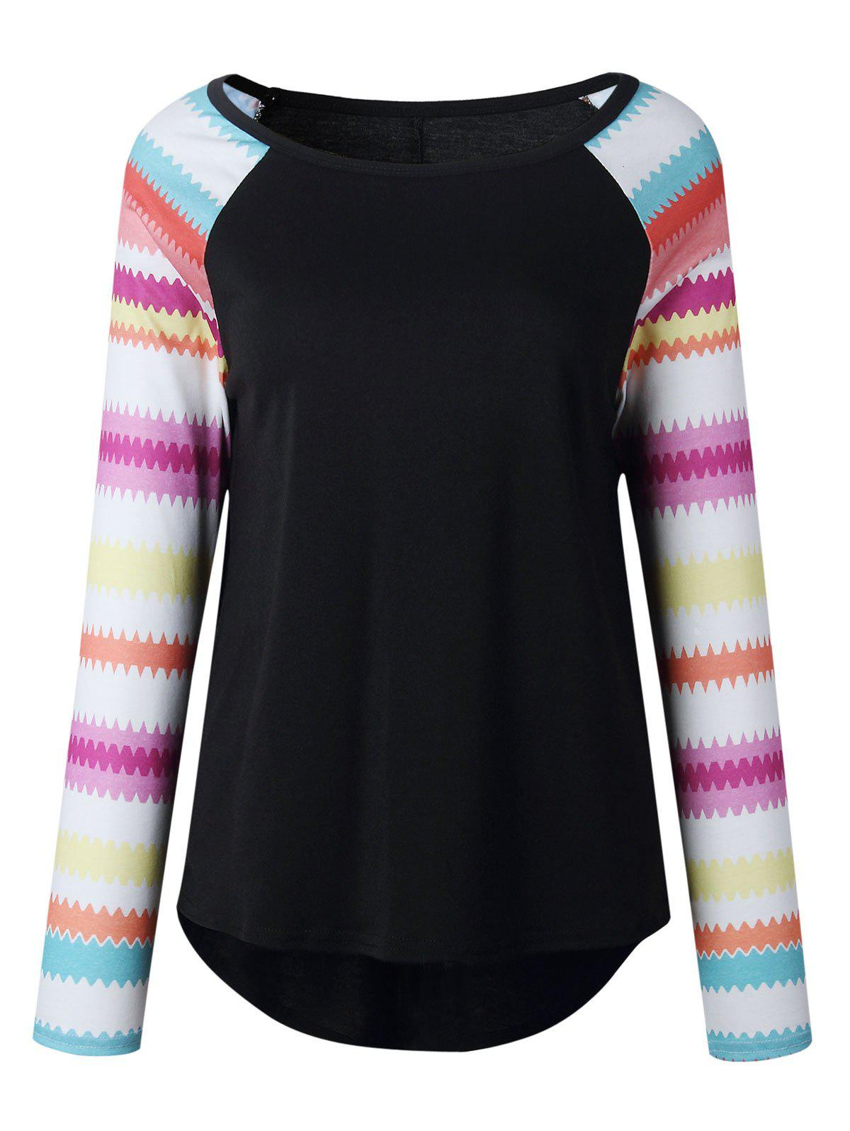 Print Raglan Sleeve Top - BLACK L