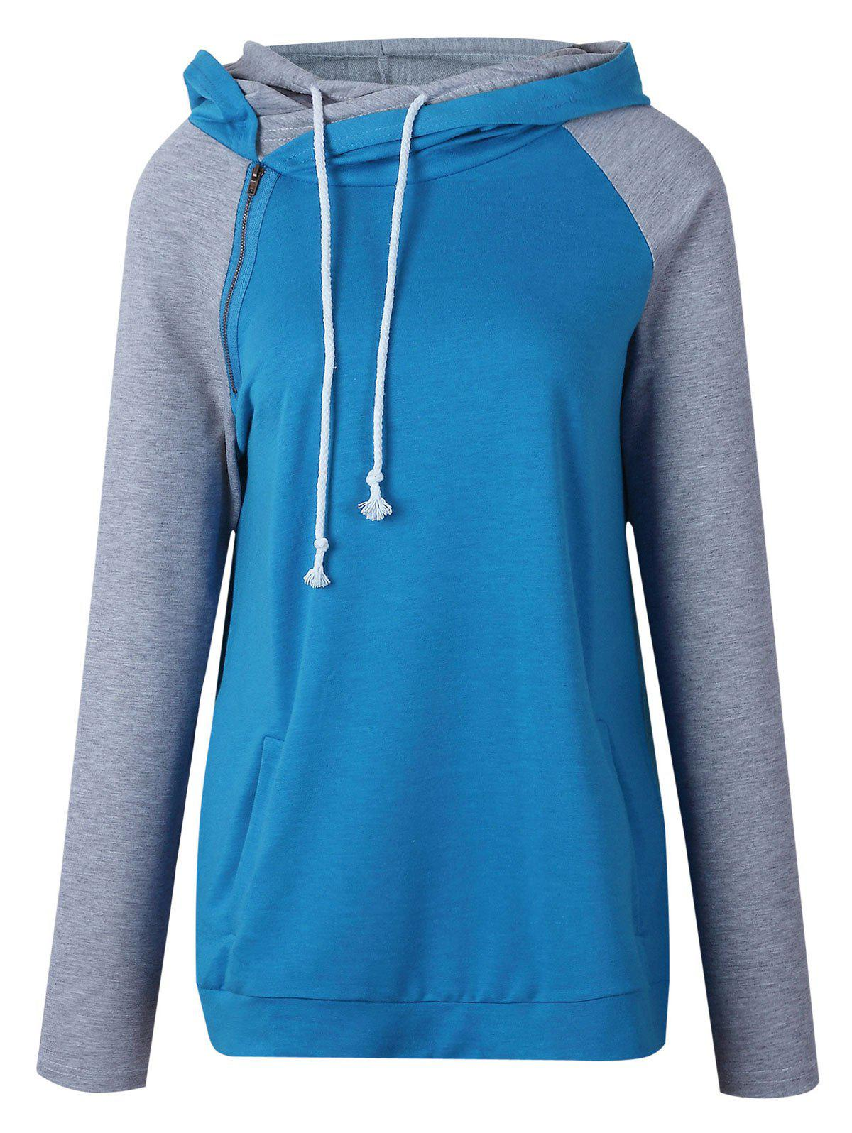 Casual Raglan Sleeve Color Block Hoodie - BLUE S