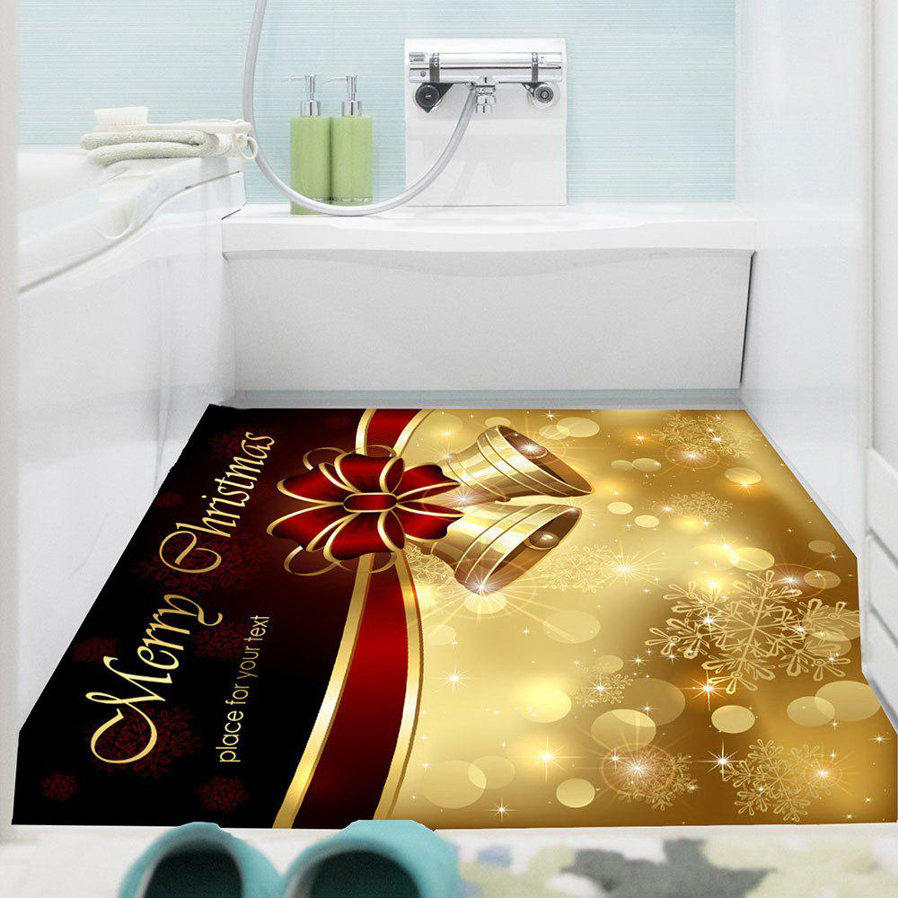 Christmas Bowknot Bells Printed Multifunction Wall Art Painting - GOLDEN 1PC:24*47 INCH( NO FRAME )