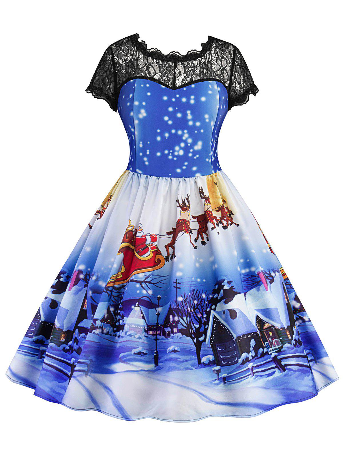 Christmas Printed Lace Panel Vintage Dress - BLUE XL