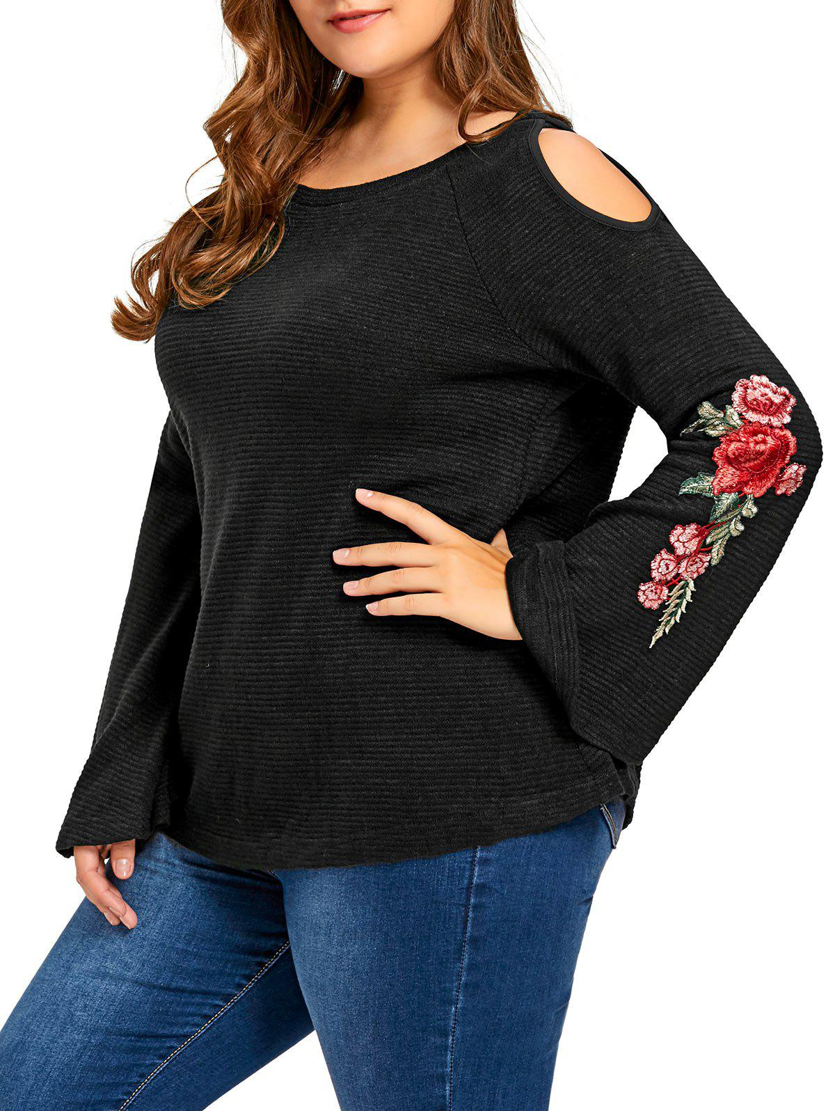 Plus Size Floral Embroidered Cold Shoulder Flare Sleeve T-shirt - BLACK 3XL