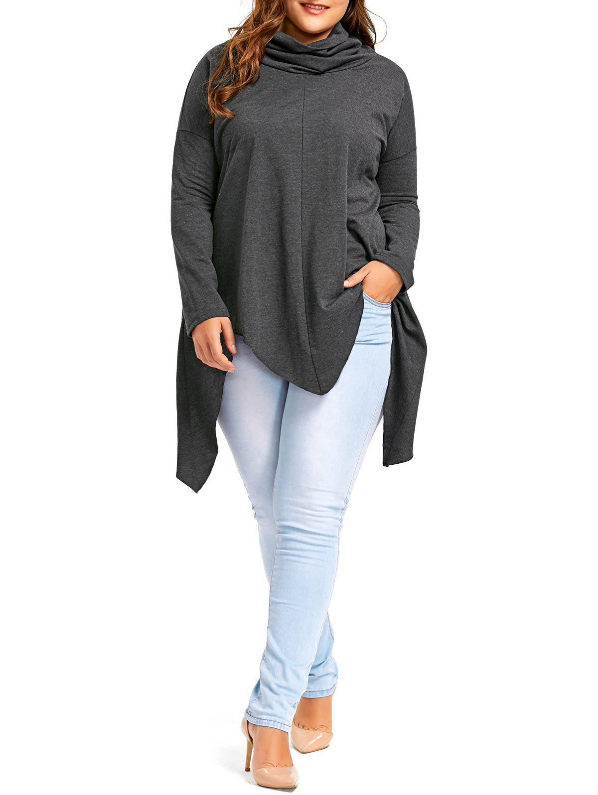 Plus Size Drop Shoulder Long Sleeve Handkerchief T-shirt - DEEP GRAY 2XL