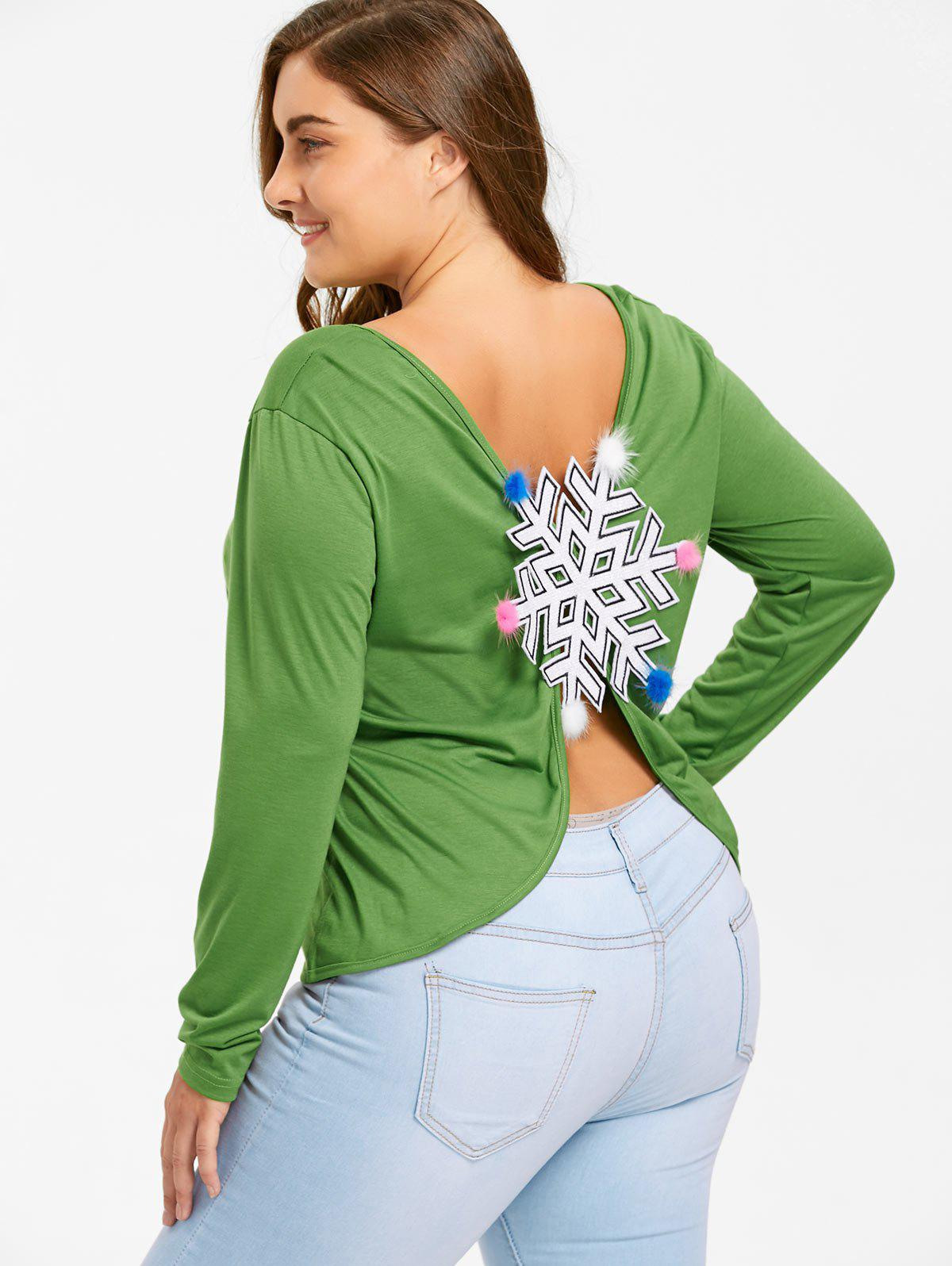 Plus Size Snowflake Patches Christmas Slit T-shirt - GREEN 2XL