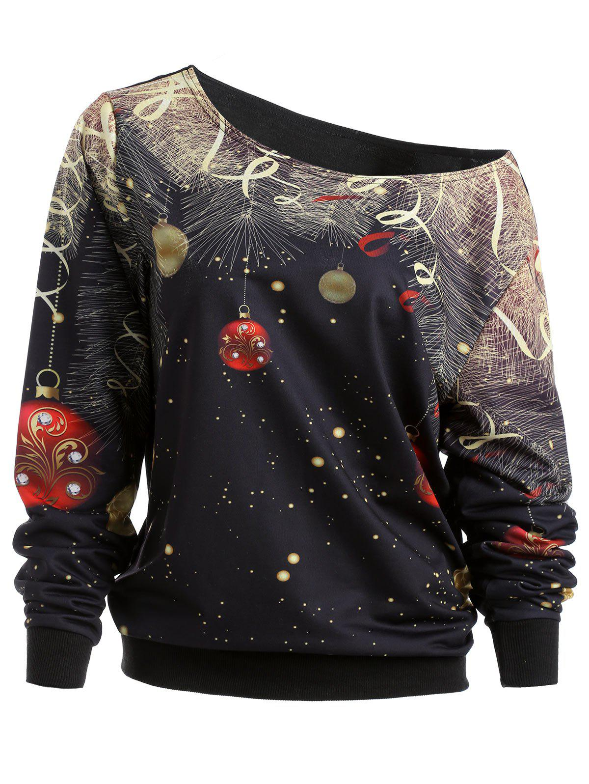 Bell Print Christmas Skew Neck Sweatshirt - BLACK XL