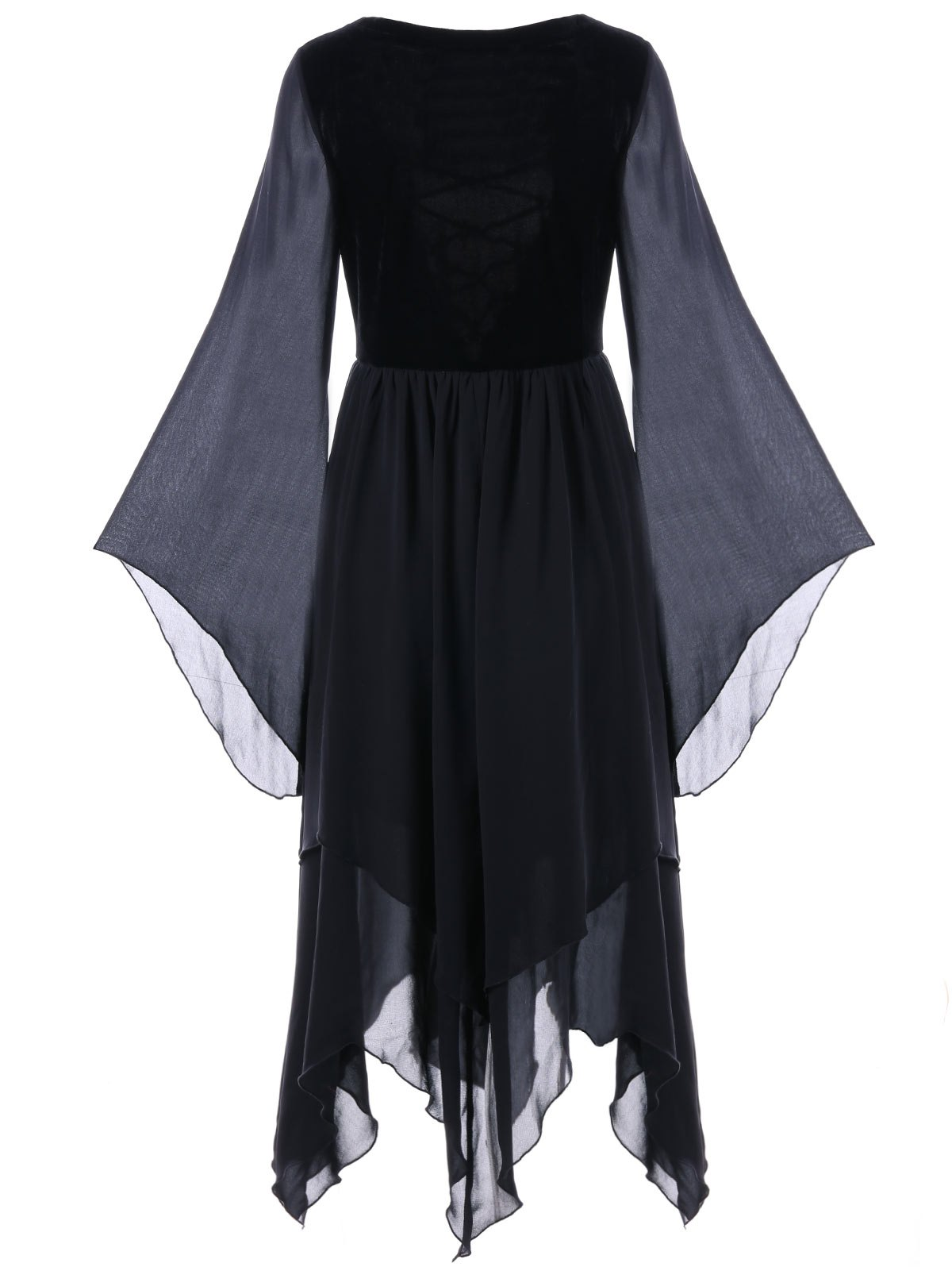 Lace-up Flare Sleeve Chiffon Asymmetric Dress - BLACK L