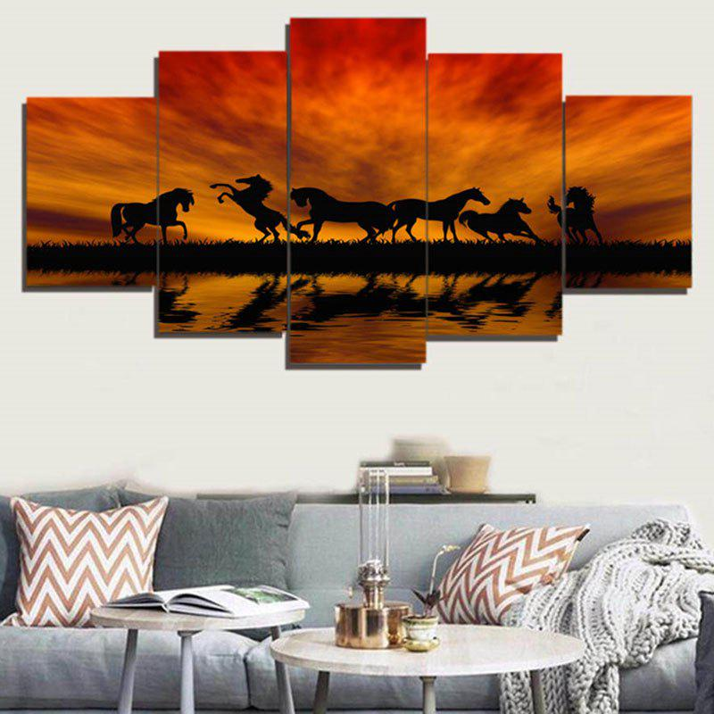 Sunset Horses Pattern Unframed Decorative Canvas Paintings seaside sunset sandbeach printed split unframed canvas paintings