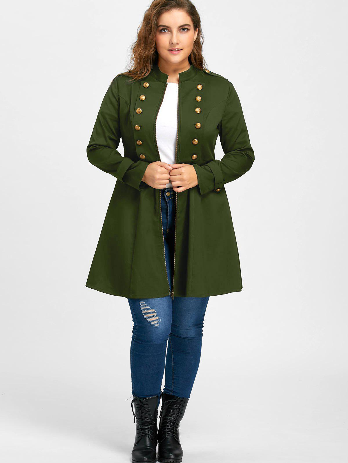 Plus Size Double Breasted Flare Coat - ARMY GREEN XL