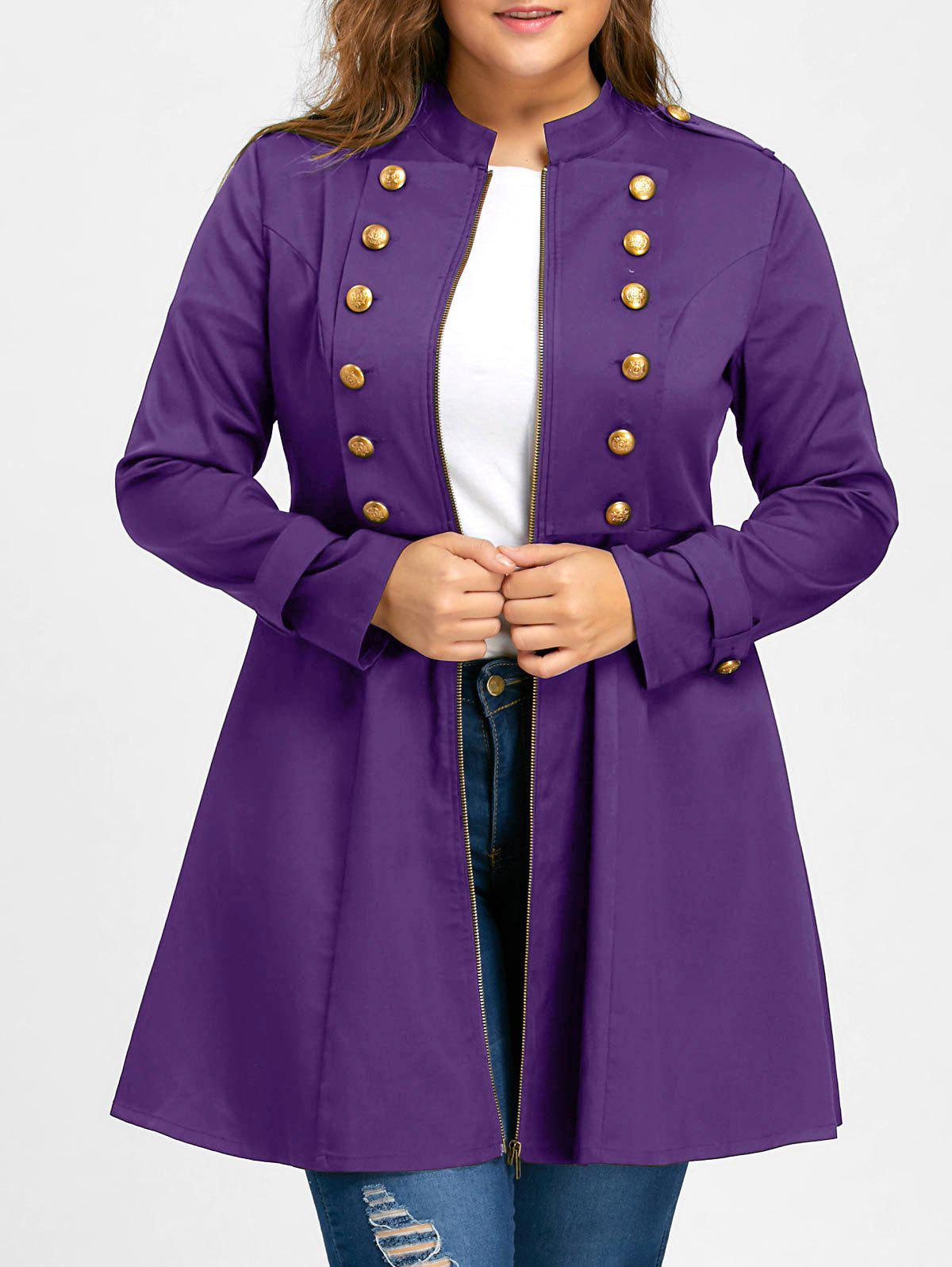 Plus Size Double Breasted Flare Coat - PURPLE 3XL