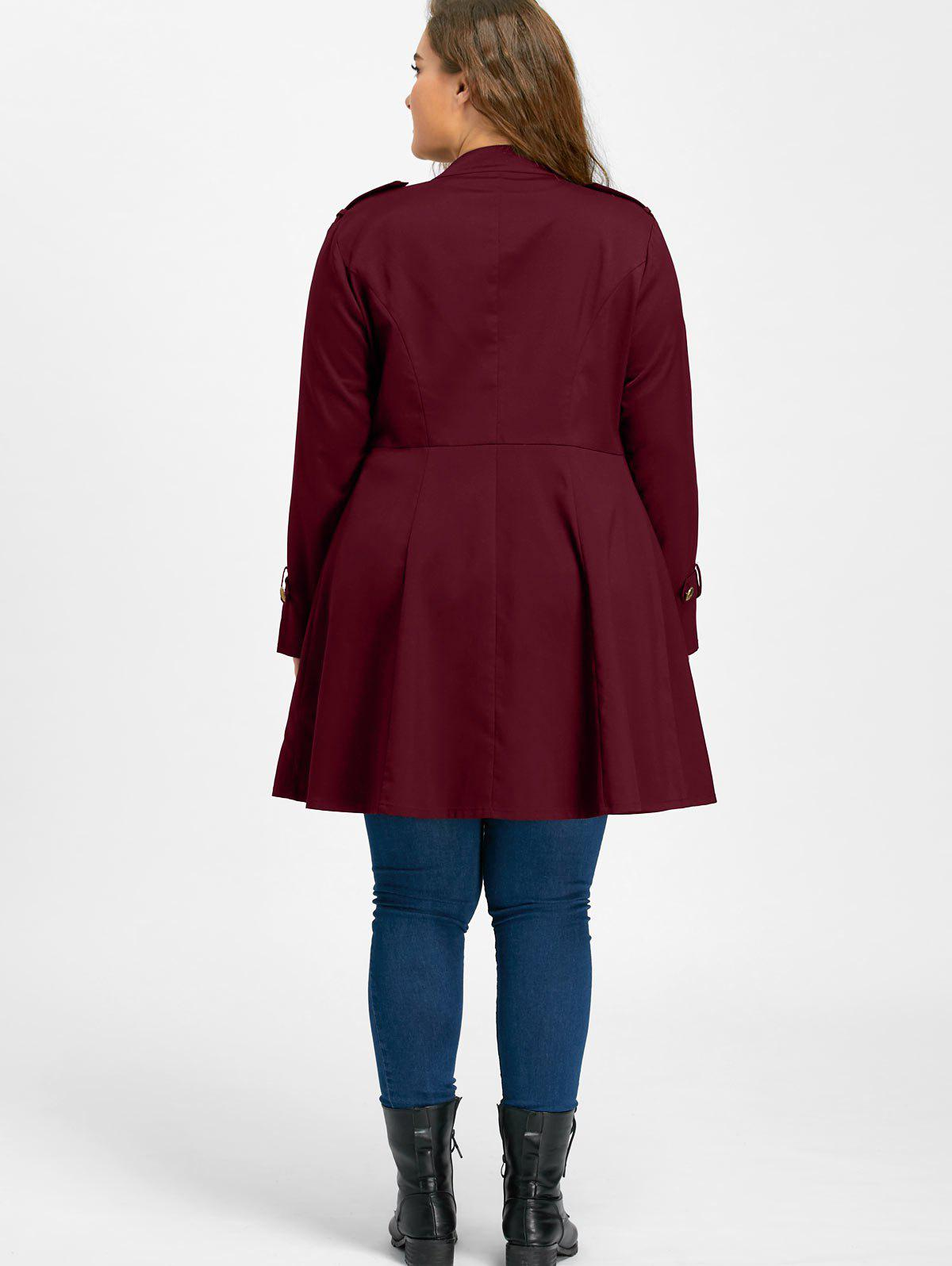 Plus Size Double Breasted Flare Coat - WINE RED 4XL