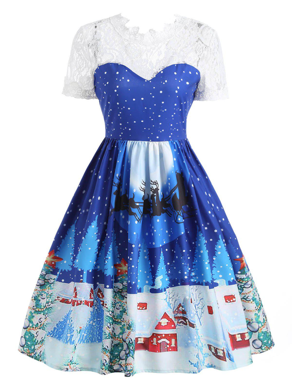 Lace Panel Christmas Print 50s Swing Dress - BLUE L