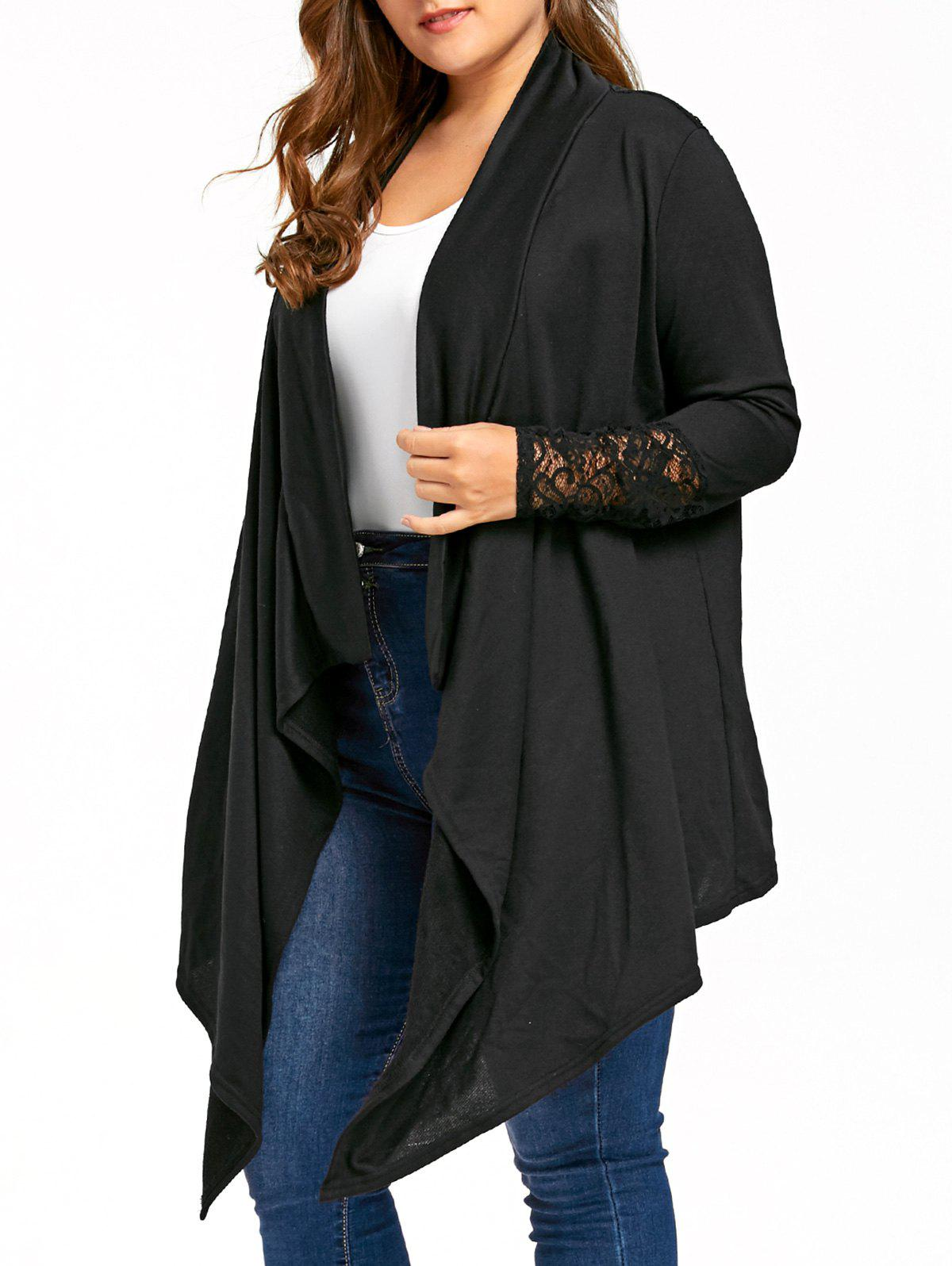 Plus Size Sheer Lace Insert Drape Cardigan, BLACK, XL in Plus Size ...
