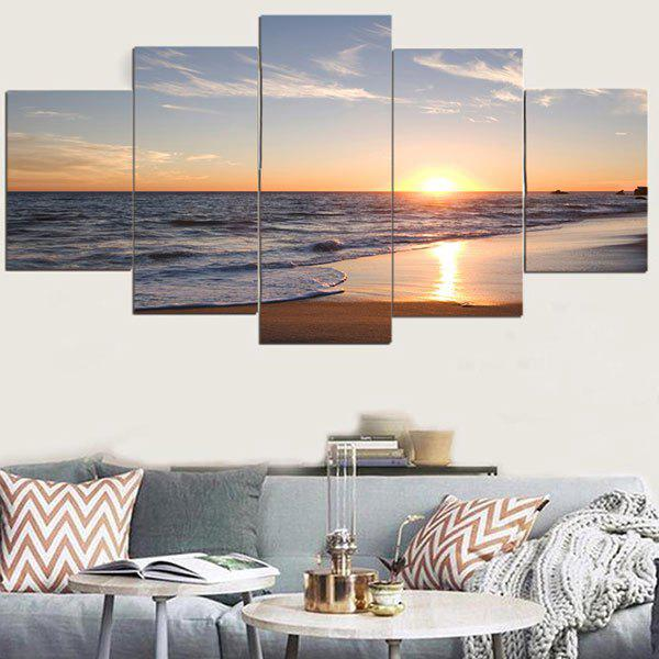 Sunset Beach Pattern Unframed Decorative Canvas Paintings seaside sunset sandbeach printed split unframed canvas paintings