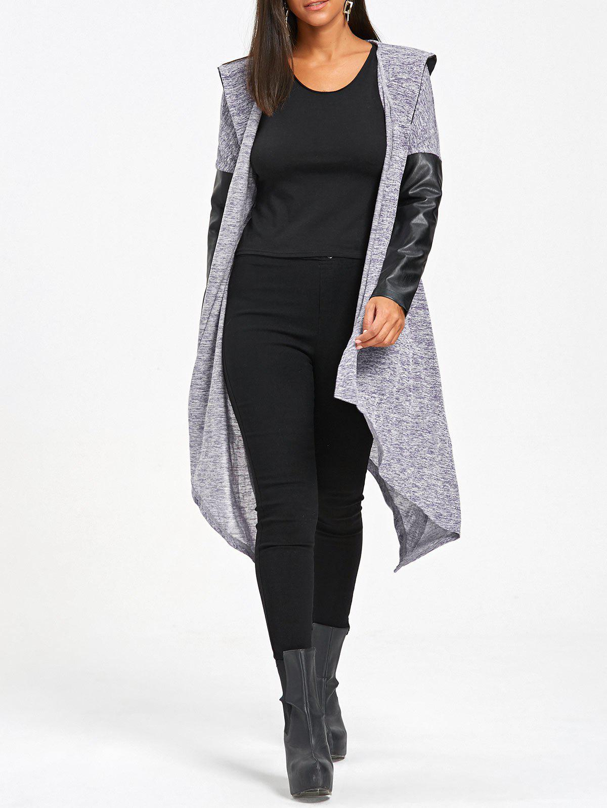 Hooded Open Front PU Insert Asymmetrical Cardigan open front back lace up hooded cardigan