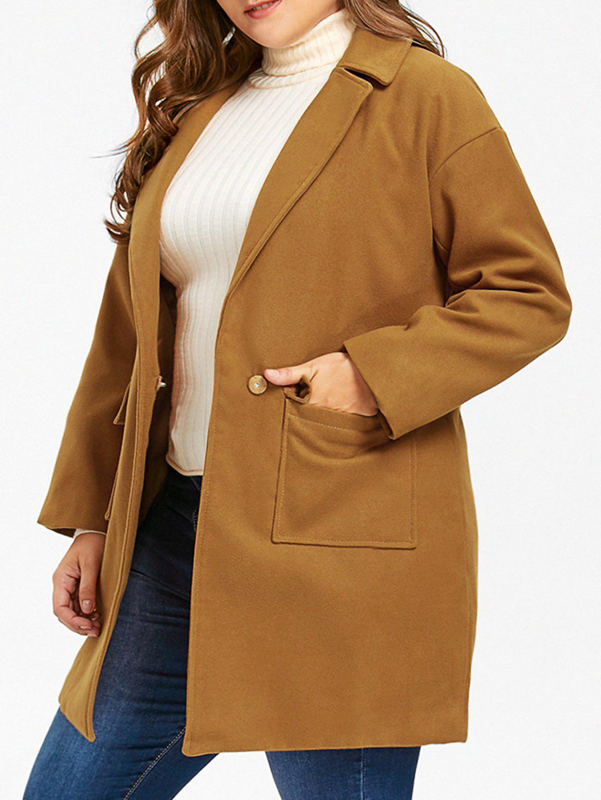 One Button Wool Blend Plus Size Coat - EARTHY 3XL