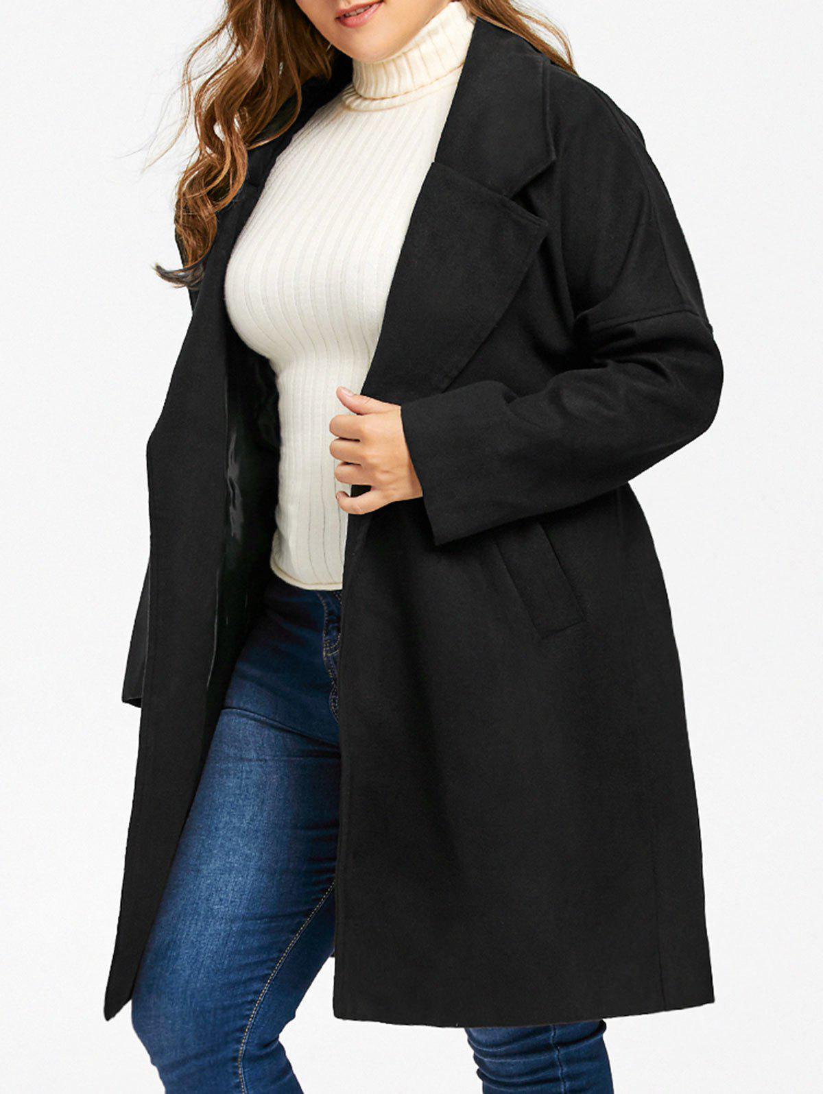 Plus Size Drop Shoulder Wool Blend Wrap Coat wool blend long a line wrap coat with belt