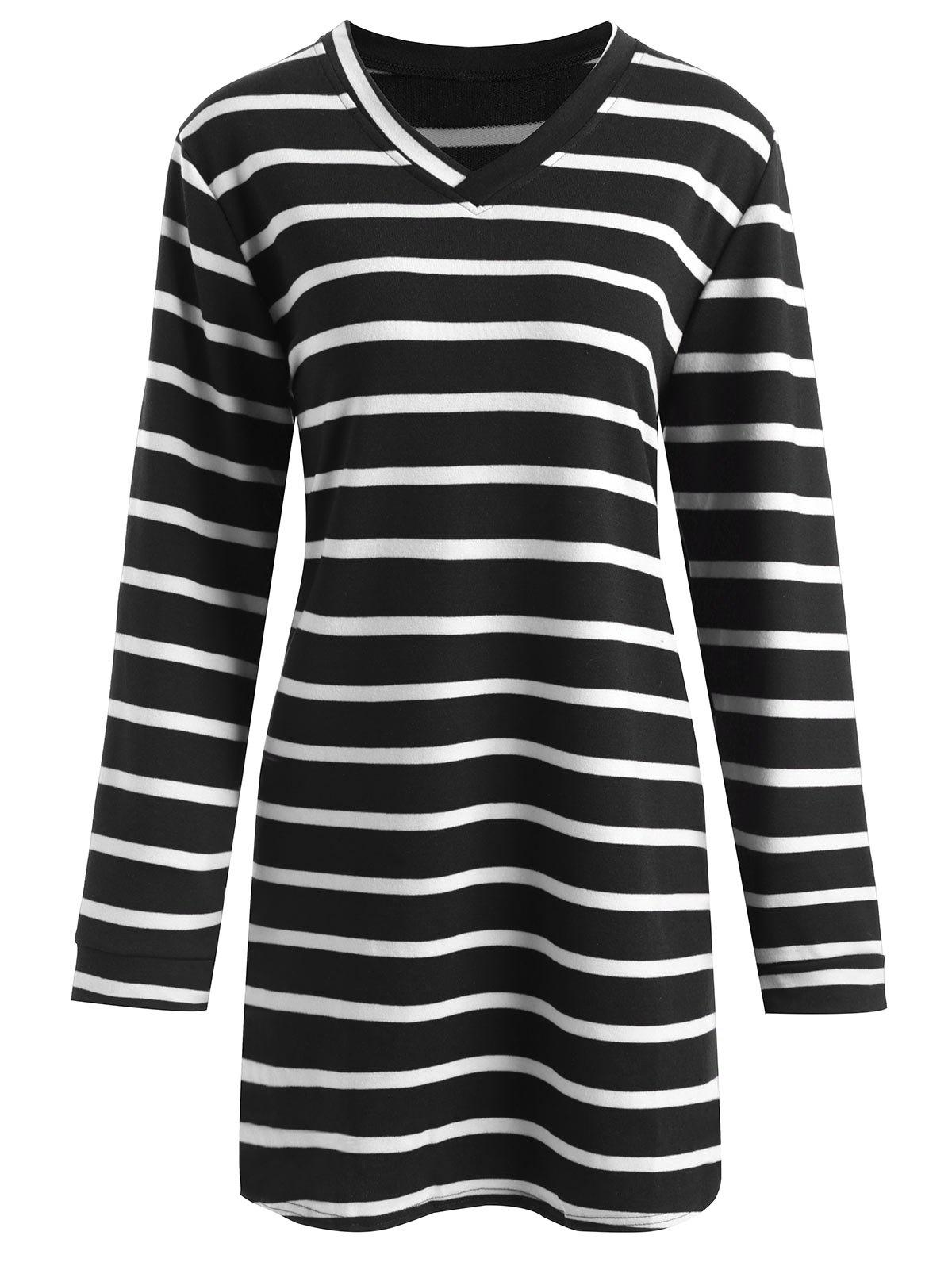 Plus Size Striped V Neck Longline T-shirt - BLACK 4XL