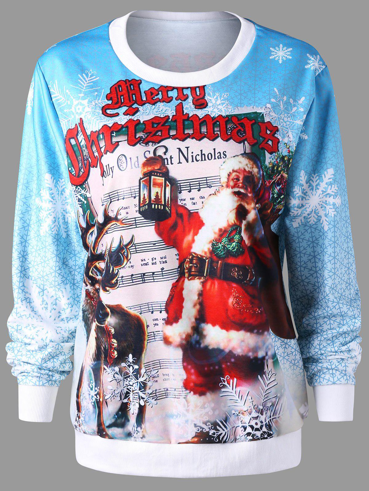 Christmas Pullover Graphic Print Sweatshirt - COLORMIX M
