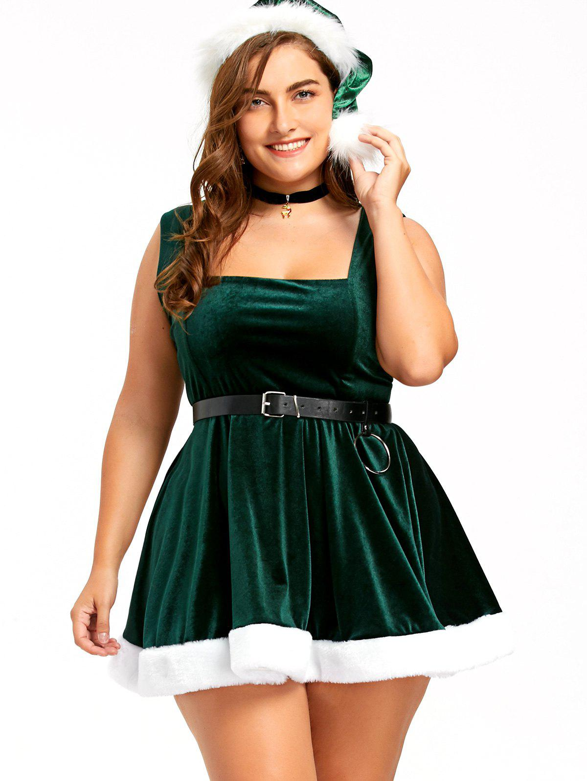 Christmas Lace Up Skater Dress with Hat - DEEP GREEN 3XL