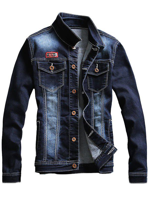 Faded Double Chest Pocket Denim Jacket - PURPLISH BLUE 3XL