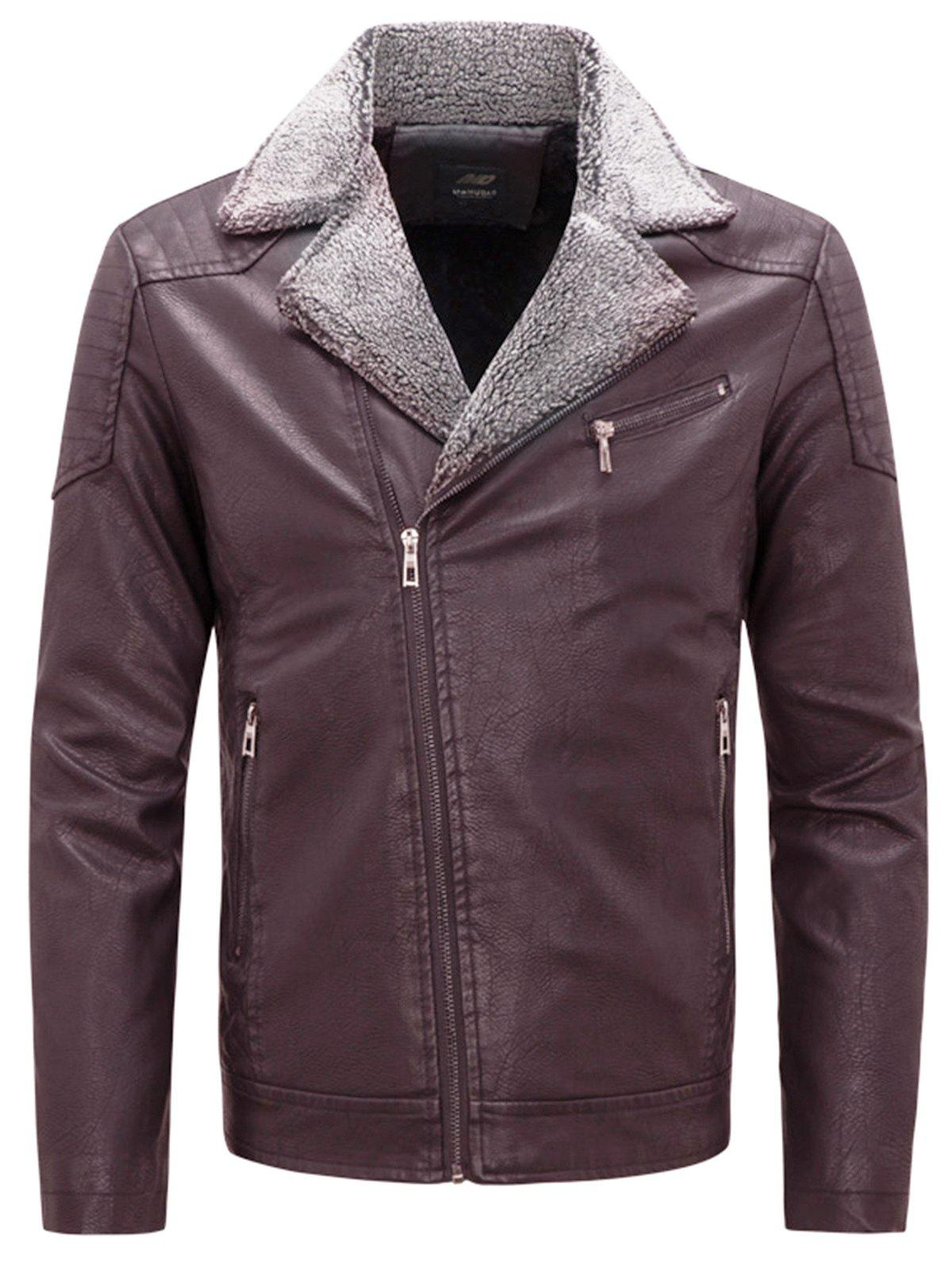 Zip Up Notch Lapel Faux Leather Jacket - WINE RED 2XL