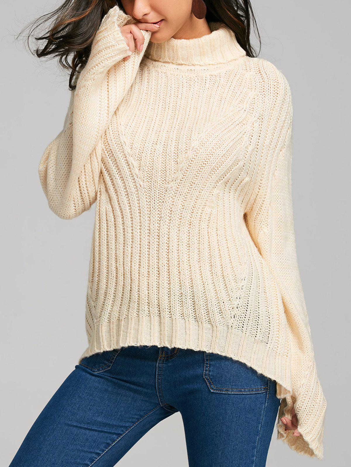 Drop Shoulder Turtleneck Sweater with Stripy - PALOMINO L