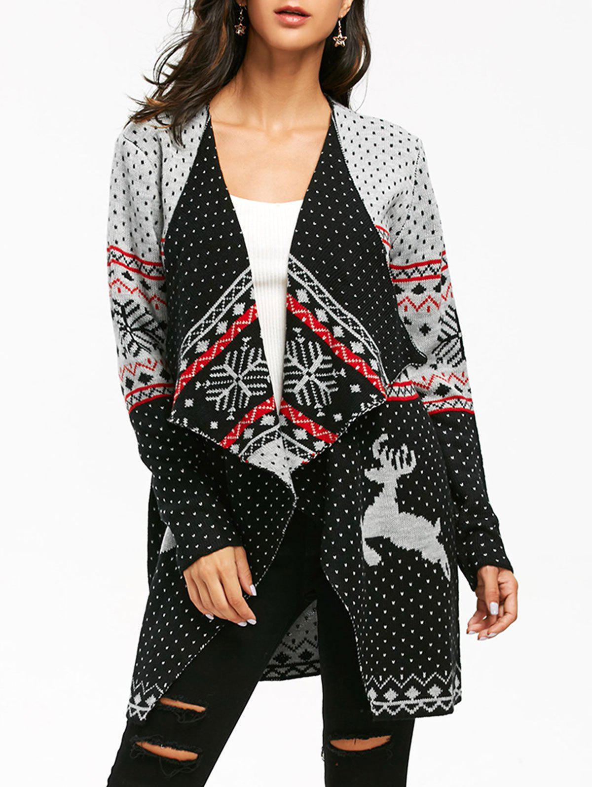 Christmas Reindeer Polka Dot Draped Tunic Cardigan - COLORMIX XL