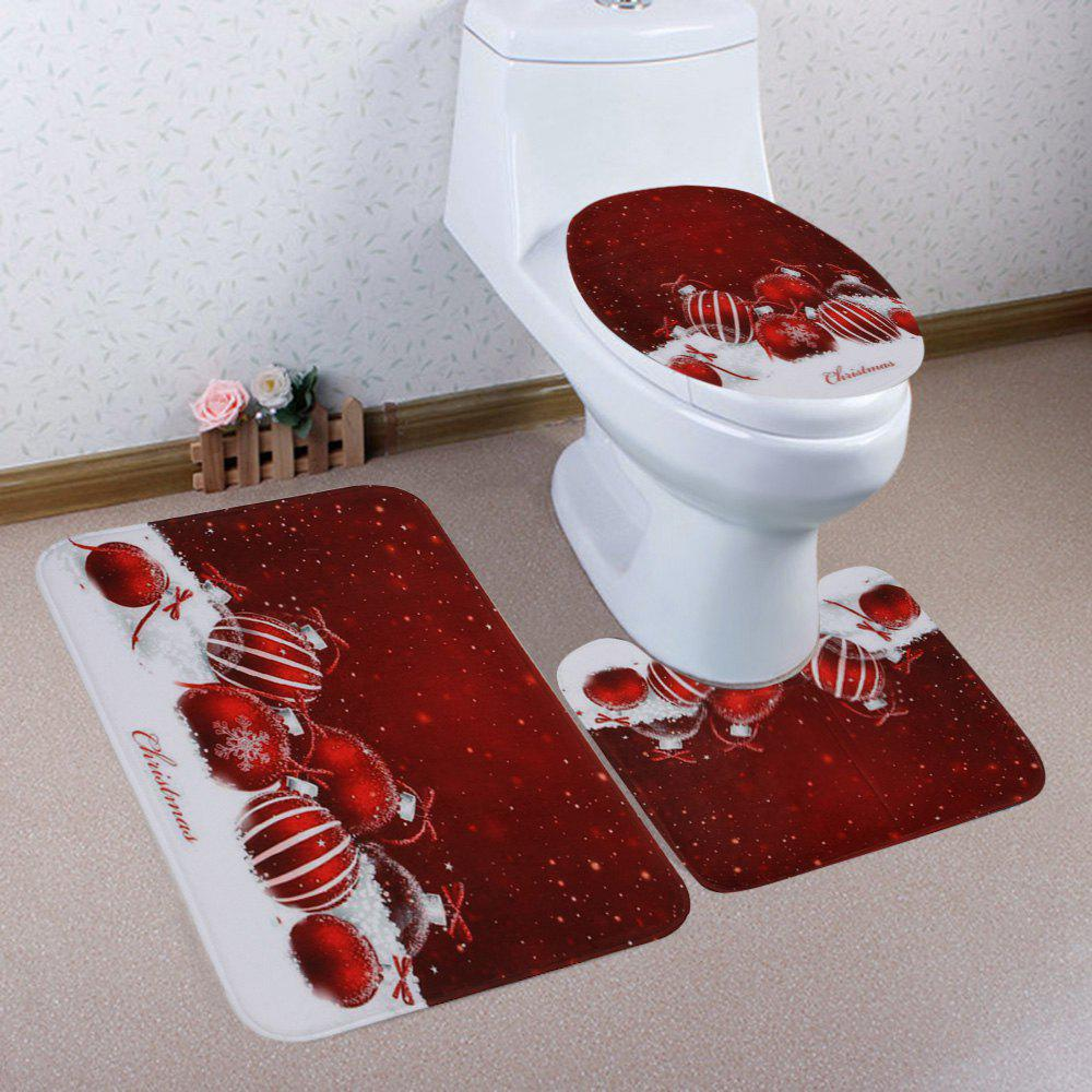Christmas Baubles Snowfield Pattern 3 Pcs Bathroom Toilet Mat halloween bloody hand pattern 3 pcs bathroom toilet mat