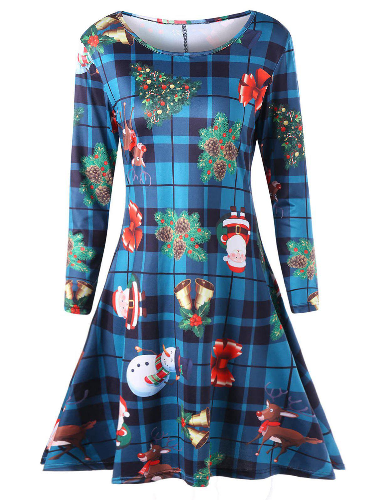 Plus Size Christmas Tree Long Sleeve Plaid Dress - COLORMIX 4XL