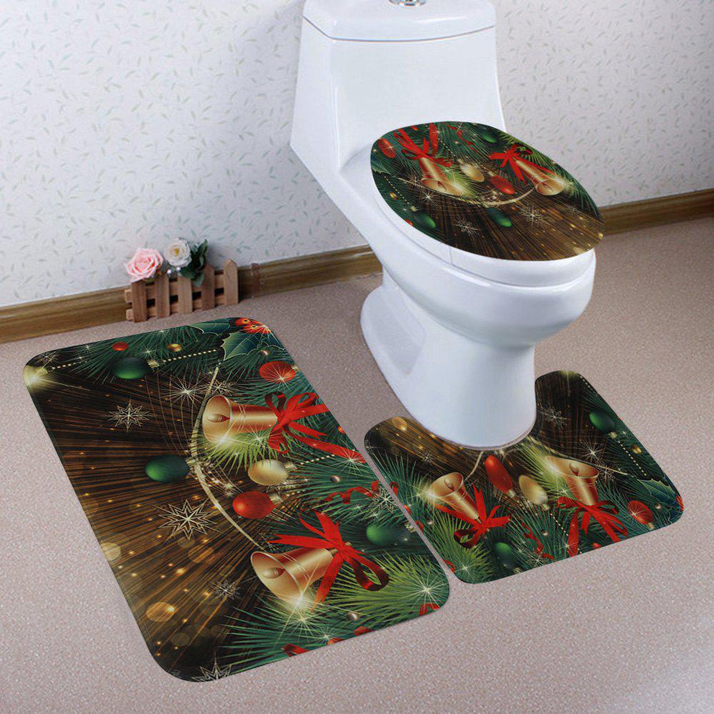 Christmas Baubles Bells Pattern 3 Pcs Bathroom Toilet Mat halloween bloody hand pattern 3 pcs bathroom toilet mat