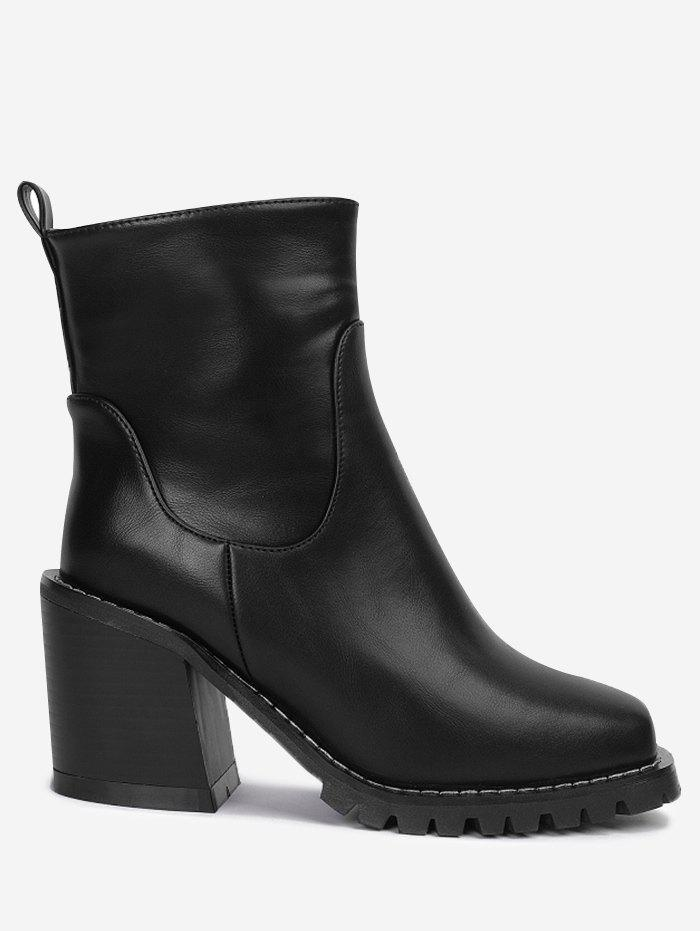 Square Toe Block Heel Ankle Boots - BLACK 35