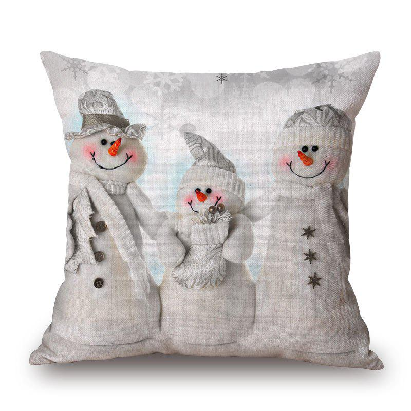 Christmas Snowmen Family Print Linen Sofa Pillowcase snowy christmas gifts print linen sofa pillowcase
