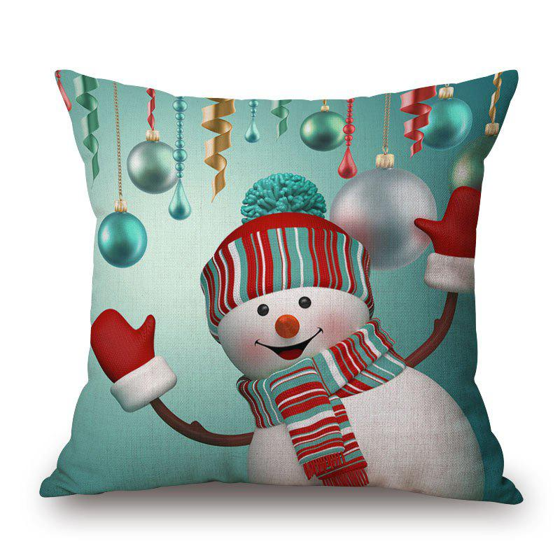 Christmas Baubles Snowman Print Linen Sofa Pillowcase - COLORMIX 45*45CM