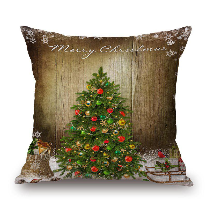 Christmas Tree Print Linen Sofa Pillowcase - BROWN 45*45CM