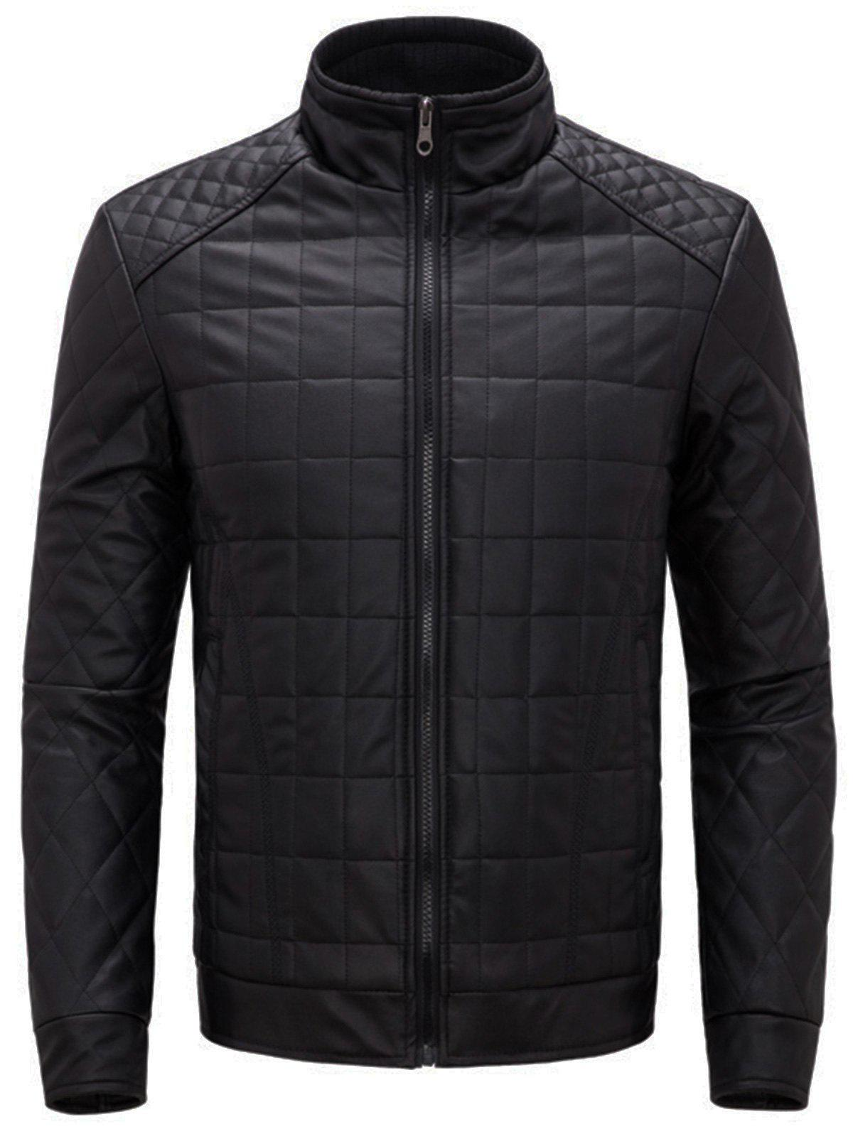 Checkered Grid Quilted Faux Leather Jacket - BLACK 2XL