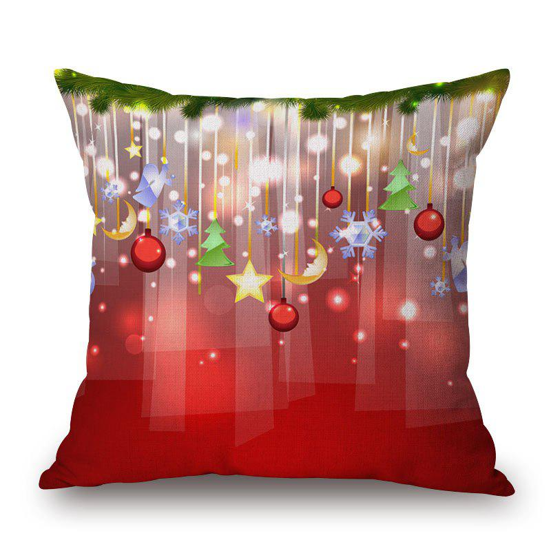 Christmas Balls Print Linen Sofa Pillowcase - COLORMIX 45*45CM