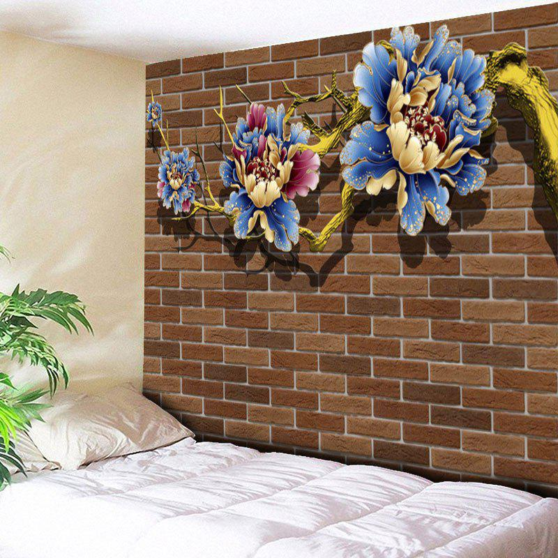 Flower Print Vintage Brick Wall Tapestry - BROWN W59 INCH * L51 INCH
