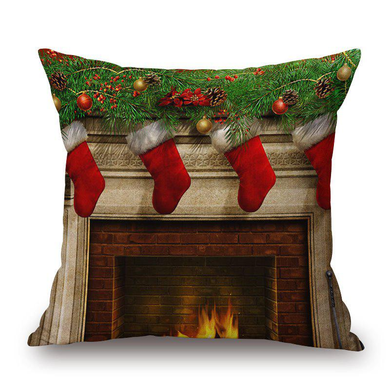 Christmas Fireplace Print Linen Sofa Pillowcase snowy christmas gifts print linen sofa pillowcase