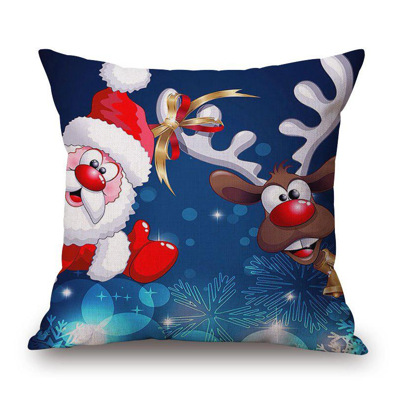 Christmas Santa Deer Print Linen Sofa Pillowcase - COLORMIX 45*45CM