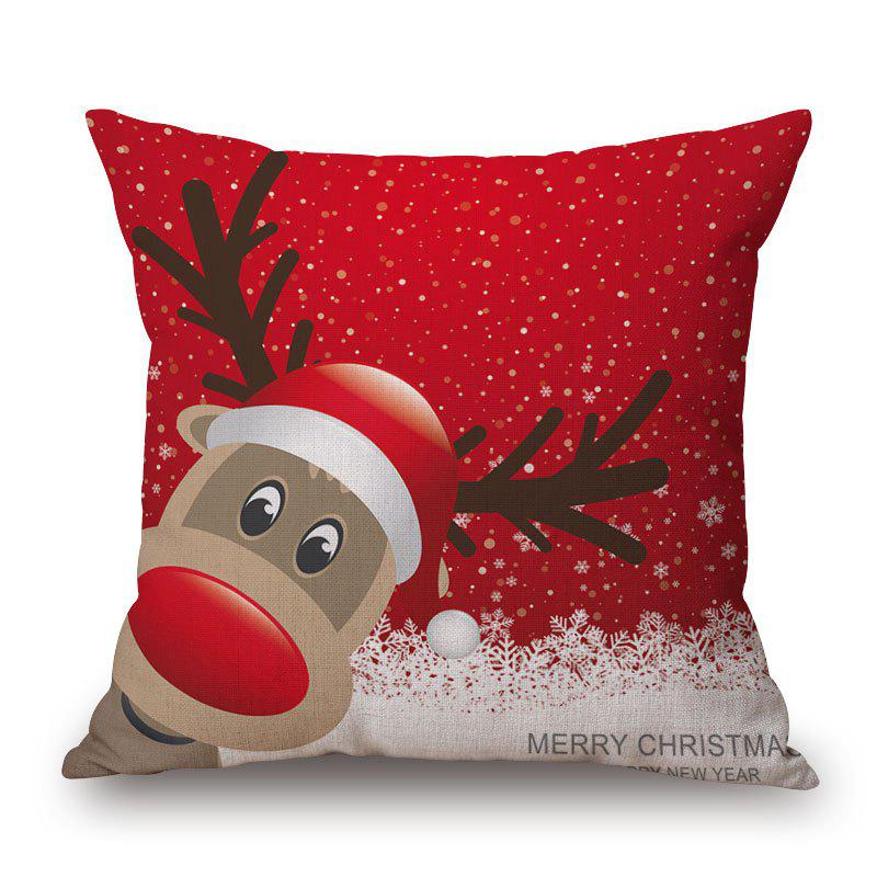 Christmas Deer Print Linen Sofa Pillowcase - RED 45*45CM