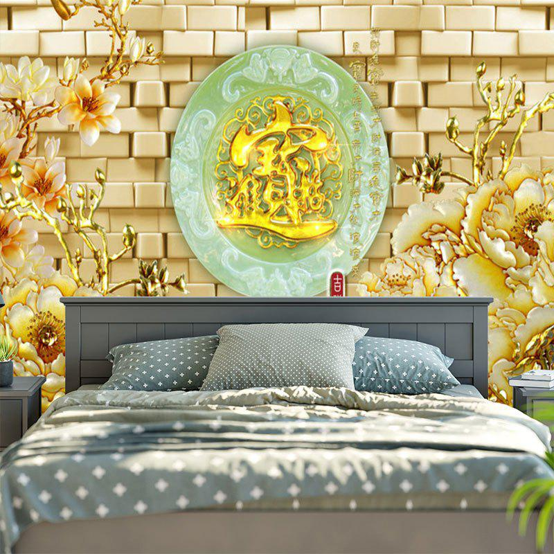 Floral Oval Jade Plate Pattern Wall Tapestry - COLORMIX W79 INCH * L59 INCH