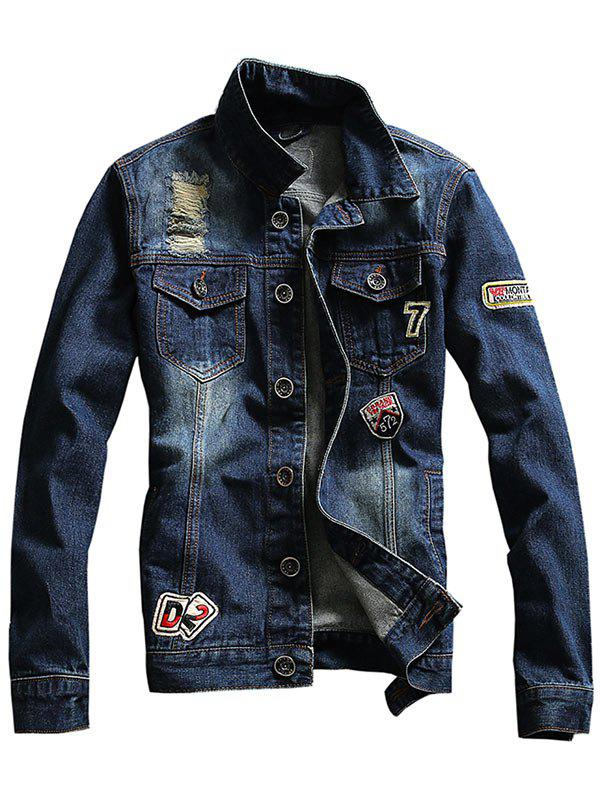 Distressed Chest Pocket Patched Denim Jacket - DEEP BLUE 3XL