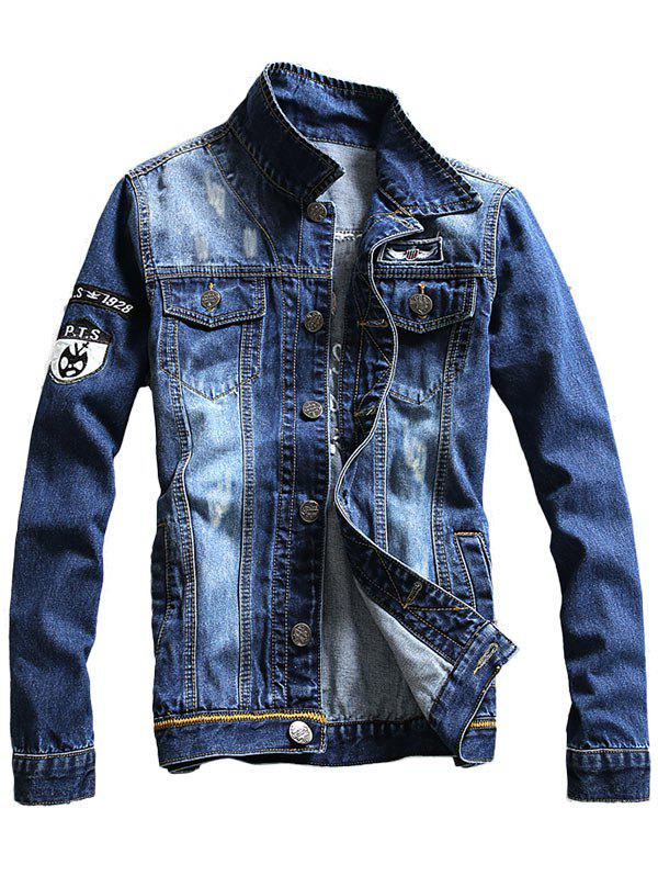 Double Chest Pocket Embroidery Denim Jacket - BLUE 3XL